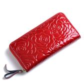 長夾 玫瑰花 漆皮 多功能 卡包 錢包 手拿包 長夾【CL60017_4】 BOBI  01/04
