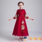 兒童中式禮服花童婚禮女童公主裙蓬蓬紗洋裝主持人演出服【淘嘟嘟】