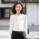 蝴蝶結飄帶襯衫女長袖2021新款白色繫帶上衣職業裝女士雪紡白襯衣 快速出貨