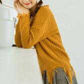 現貨-毛衣-慵懶鬚邊V領不規則下鬚寬鬆毛衣Kiwi Shop奇異果1130【SZZ8414】