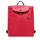 【南紡購物中心】LONGCHAMP Le Pliage Collection系列刺繡摺疊後背包(喜紅)