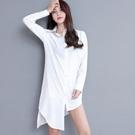 襯衫女長袖2020春裝白色寬鬆睡衣風慵懶漏鎖骨一字肩chic早秋上衣