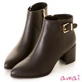 amai細緻皮帶小開衩素面粗跟短靴 咖