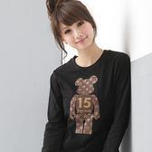 棉T--魅力15號燙金小熊圓領長袖棉T(黑.粉S-XL)-T19眼圈熊中大尺碼