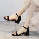 女鞋夏季年女士時裝中跟粗跟仙女風一字扣帶高跟涼鞋