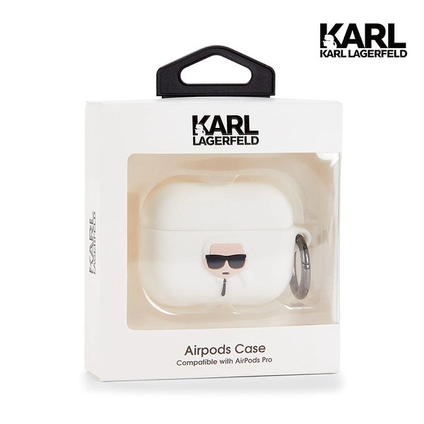 【KARL LAGERFELD】Karl 3D Ikonik AirPods Pro Case - 白 (原廠公司貨)