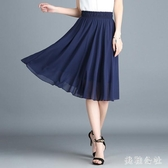 雪?半身裙 夏季新款大碼長款半身裙超火裙子半身裙中長款白色a字裙 aj4034『美鞋公社』