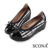 SCONA 蘇格南 真皮 輕盈舒適拼接楔型鞋 藍色 31033-1