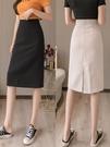 直筒西裝半身裙女夏裝2021年新款女高腰後開叉一步包臀裙a字中裙 果果輕時尚