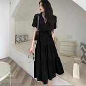 大碼洋裝 大碼胖妹妹很仙的法式桔梗裙女夏復古氣質V領收腰顯瘦長裙洋裝 檸檬衣舍