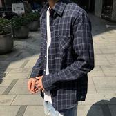 男性格紋襯衫 韓版新款韓版學生休閒格紋長袖襯衣格子襯衫 珍妮寶貝