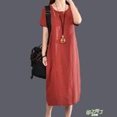 洋裝 正韓女裝大尺碼中長裙文藝簡約素面亞麻棉麻連身裙洋裝寬鬆 【快速出貨】