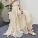 網紗裙 雪紡半身裙女夏中長款網紗裙高腰a字裙百搭超仙大擺長裙-Ballet朵朵