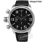 elegantsis / ELJT48-OB12LC / 完美狙擊硬派軍事風計時日期防水皮革手錶 黑色 47mm