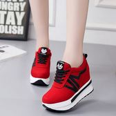 春季內增高單鞋女韓版鬆糕厚底運動鞋紅色百搭女鞋潮 莫妮卡小屋
