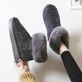 雪靴 雪地靴女鞋一腳蹬加厚短筒懶人可愛日系東北防水防滑冬季加絨棉鞋