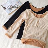 秋冬女裝韓版修身百搭圓領加絨加厚打底衫長袖保暖內衣T恤上衣潮