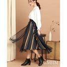 百貨專櫃女裝 雙層透視網紗設計 彩條拉長腿部線條 腰帶凸顯迷人氣質