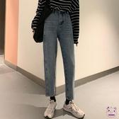 牛仔褲 復古腰牛仔褲女寬鬆正韓chic秋季2019新款學生休閒褲子直筒褲潮