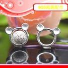 銀鏡DIY S925純銀材料配件/亮面水晶轉運輪小熊造型圓珠框8*9mm~適合手作巴西蠟線/幸運繩