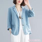 休閒亞麻小西裝外套上衣女夏季新款大碼純色口袋長袖短款棉麻西服 極速出貨