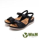 W&M(女)牛皮休閒黏釦帶 厚底輕量涼鞋...