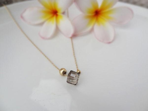 項鍊 多邊形亮晶圓珠細鍊 i917ღ