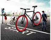公路自由車  自行車成人活飛賽車公路車實心胎學生男女款雙碟剎單車熒光igo coco衣巷