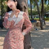 法式復古碎花雪紡洋裝女春秋V領氣質女神范收腰顯瘦長款桔梗裙 陽光好物