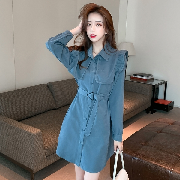 出清388 韓國風名媛燈芯絨襯衫寬鬆復古木耳肩長袖洋裝