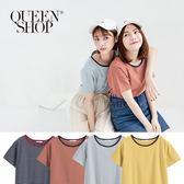 Queen Shop【01037621】撞色圓領細條紋短T 四色售*現+預*
