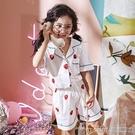 兒童草莓睡衣女孩童冬季純棉甜美薄款空調家居服綿綢公主短袖套裝 美芭