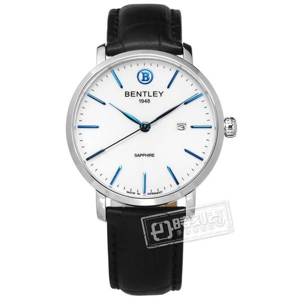 BENTLEY 賓利 / BL1811-10MWWB / 典藏風範 德國製造 藍寶石水晶玻璃 壓紋真皮手錶 白x黑 40mm