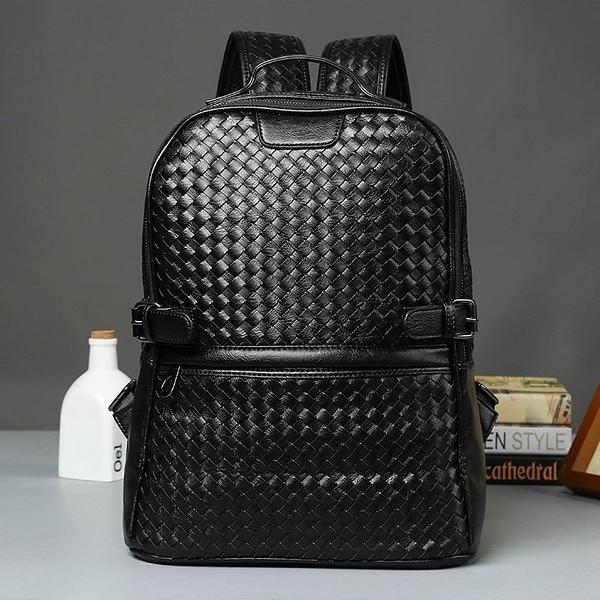 FINDSENSE品牌 韓國 新款  FIN韓國出品 包款 時尚 男士 雙肩包 編織 背包 男女式 潮流