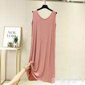 中大尺碼睡衣 莫代爾睡裙女夏季胖MM寬鬆大碼睡衣200斤家居服可外穿無袖連身裙 嬡孕哺
