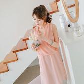 OrangeBear《DA3400》雪紡交叉垂綴造型寬鬆無袖洋裝.2色--適 2L~7L