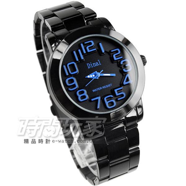 Dinal 時尚數字時刻腕錶 藍x黑 IP黑電鍍 中性錶 女錶 男錶 都適合 D8162IP藍