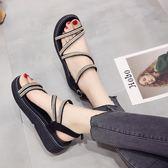 chic鞋子復古水鑽涼鞋新款女百搭韓版夏季鬆糕厚底港味羅馬潮 全館88折