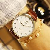 超薄防水皮帶石英錶男女學生情侶手錶男士腕錶休閒時尚女錶 免運