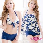 三件式泳衣 深藍 M~XL 白花朵三件式比基尼泳裝泳衣溫泉 天使甜心Angel Honey