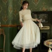 蕾絲拼接毛衣裙冬裝新款流行智熏法式桔梗復古百搭毛衣拼接蕾絲網紗打底裙女 春季特賣