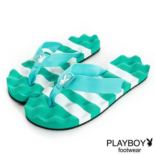PLAYBOY 夏日活力~踏浪波紋夾腳海灘拖-綠