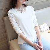 長袖針織衫-時尚鏤空純色百搭女T恤4色73hn49【時尚巴黎】