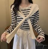 長袖針織衫寬松假兩件條紋披肩顯瘦上衣~少女顏究院~