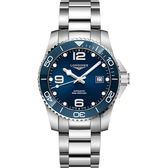 【滿額禮電影票】LONGINES 浪琴 深海征服者浪鬼陶瓷潛水機械錶-藍x銀/43mm L37824966