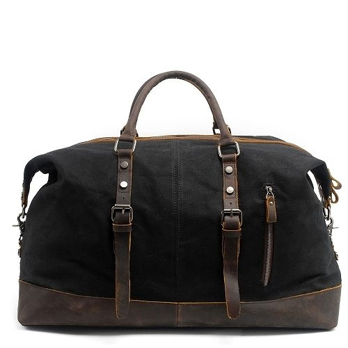 【Zoe s】蠟染帆布搭瘋馬皮大容量斜跨手提兩用防水行李包(紳士黑)