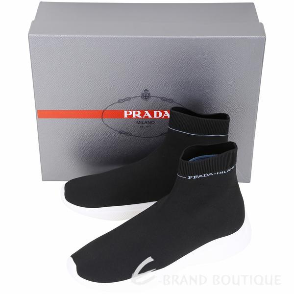 PRADA Etiquette 標籤彈性面料襪套運動鞋(男款/黑色) 1910181-01