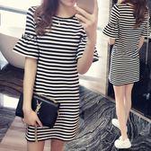 洋裝 夏季新款t恤裙修身短袖休閒直筒裙子中長款喇叭袖條紋