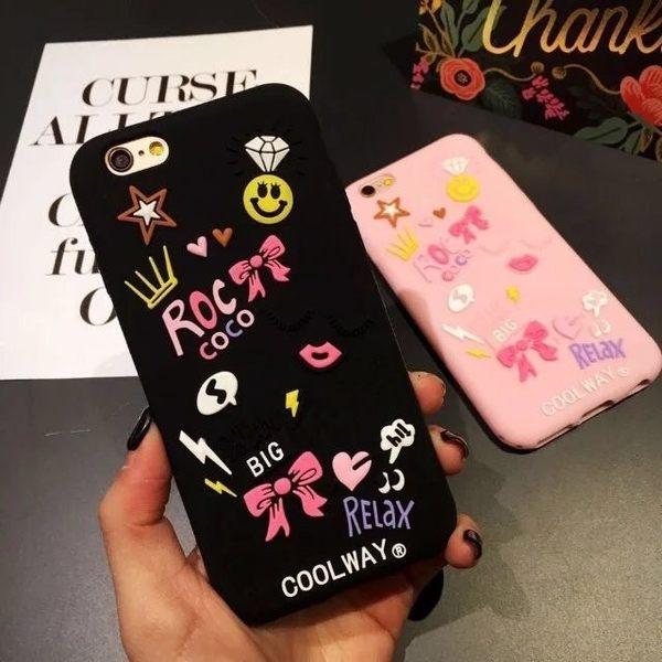 iPhone手機殼 韓國官網同步 塗鴉立體少女小物 矽膠軟殼 蘋果iPhone7/iPhone6手機殼