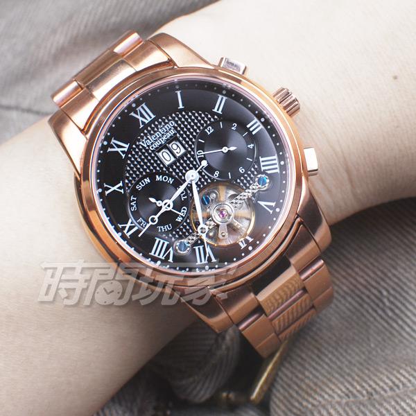 valentino coupeau 范倫鐵諾 羅馬 自動上鍊機械錶 不鏽鋼 防水手錶 男錶 日期顯示 玫瑰金 V61369AR-2